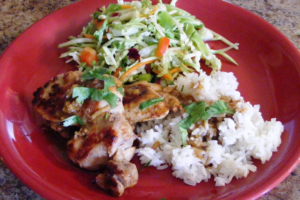 Hoisin Chicken Thighs with Rice and Asian Slaw