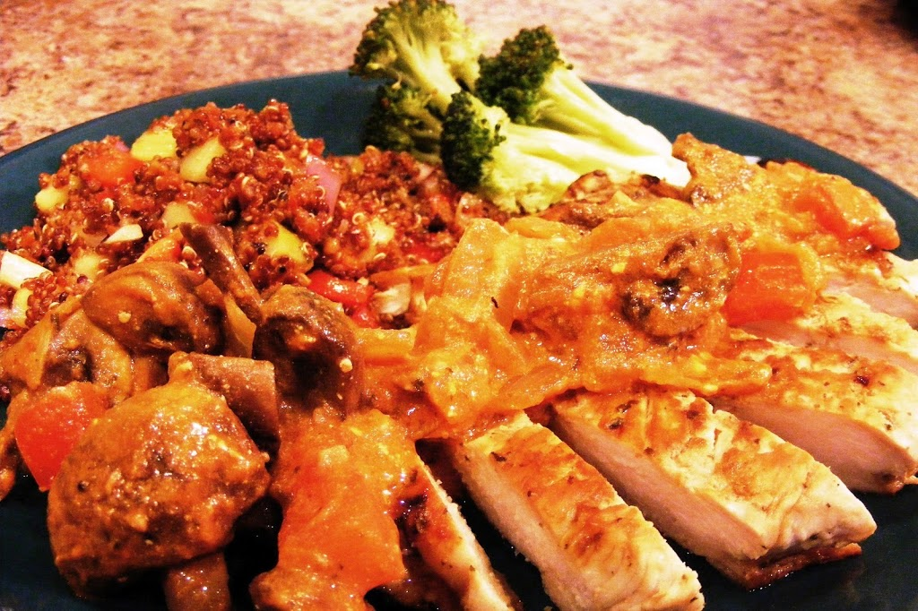 Chicken Breast and Mushrooms in a Vinegar-Cream Sauce