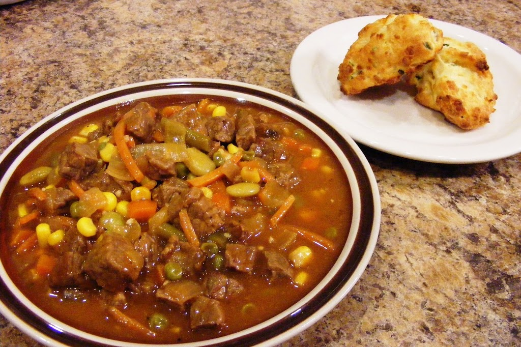 Beef Stew and Cheddar-Chive Biscuits