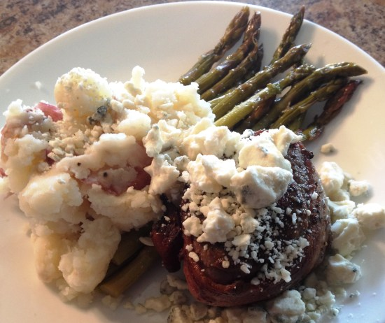 Bacon-Wrapped FIlet Mignon, Roasted Garlic Smashed New Red Potatoes, and Fresh Asparagus