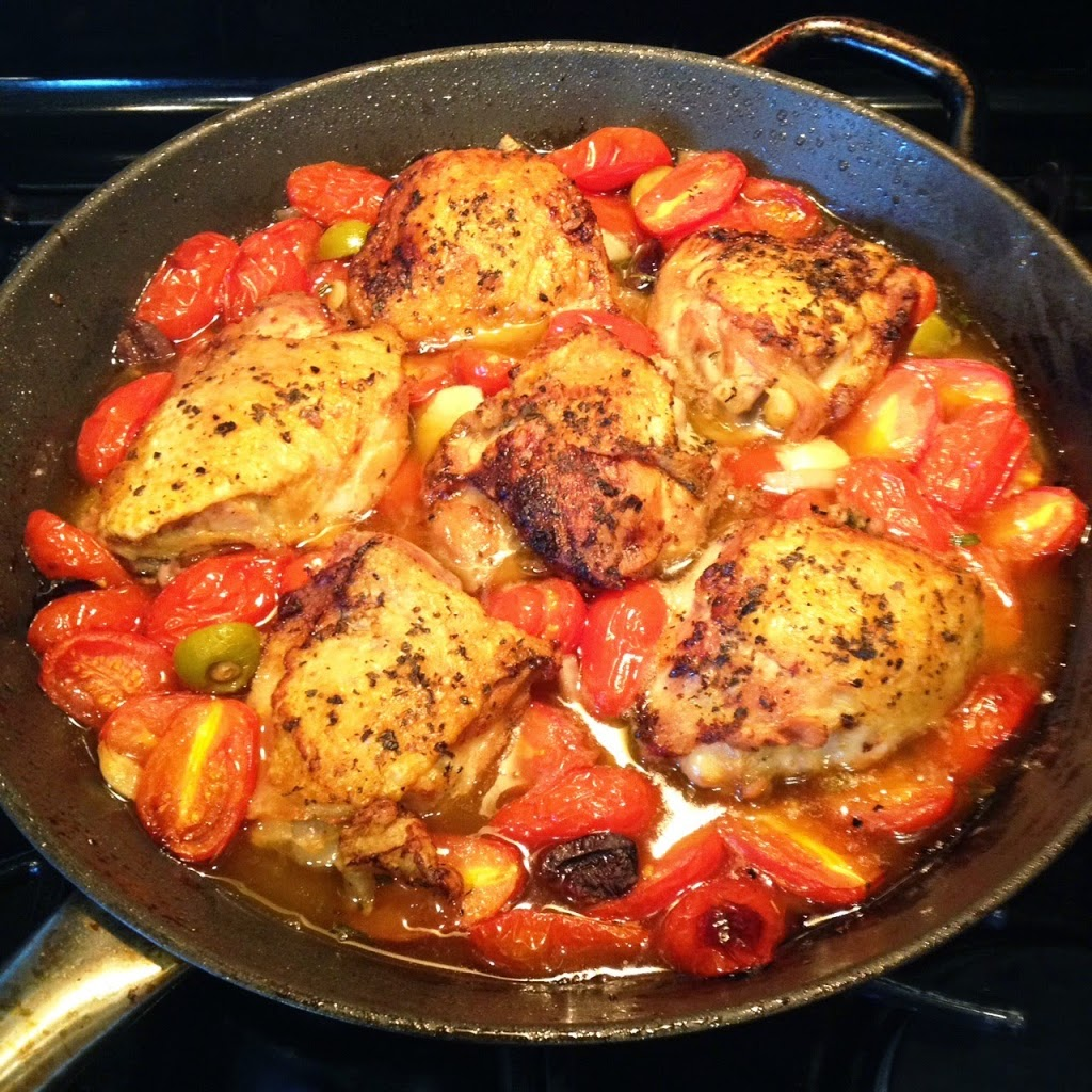 Pan Seared Chicken, Roasted with Cherry Tomatoes and Olives