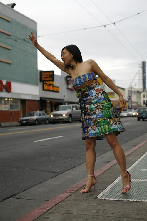Dress made from food bar wrappers (mostly from airplane granola bars!)