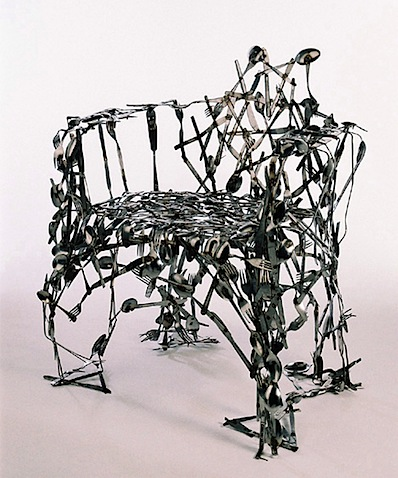 Recycled cutlery chair