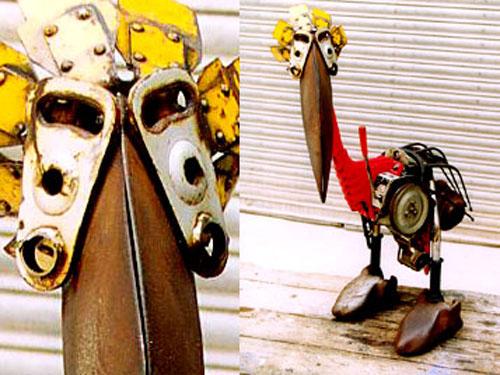 Mechanical junkbot sculptures
