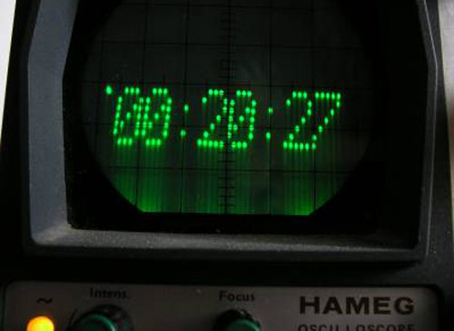 Digital clock for an analog 'scope