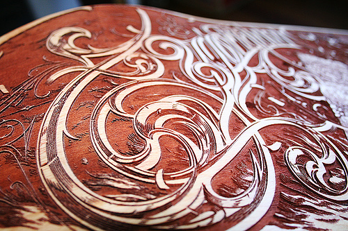 Laser-etched skateboards