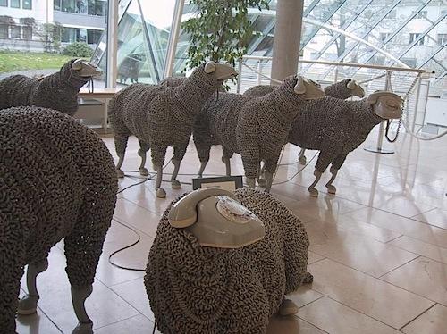 Phone cord sheep sculptures