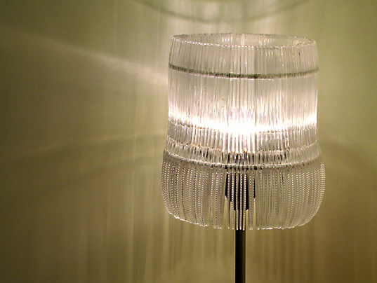 Plastic knife lamp cuts through the fancy