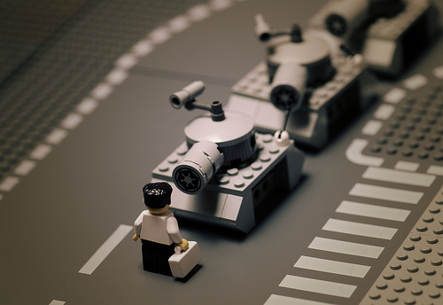 Classic photos remade in LEGO