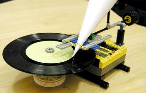 LEGO paper-cone record player