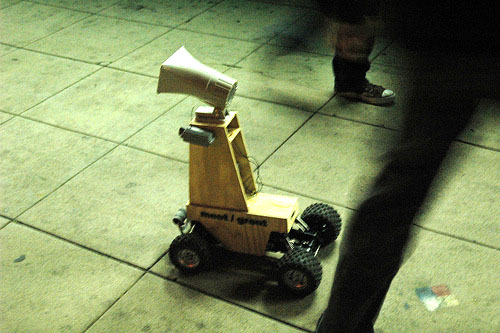 Robot greets people in public spaces in six languages