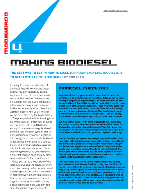 Weekend Project: Making Biodiesel (PDF)