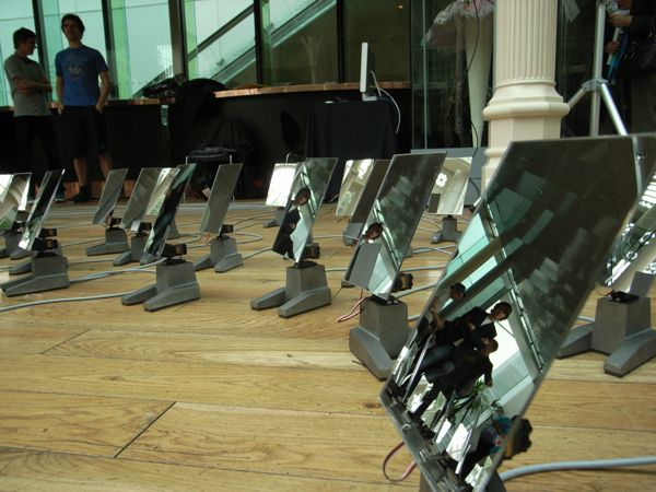 Audience installation creates a spectacle with rotating mirrors