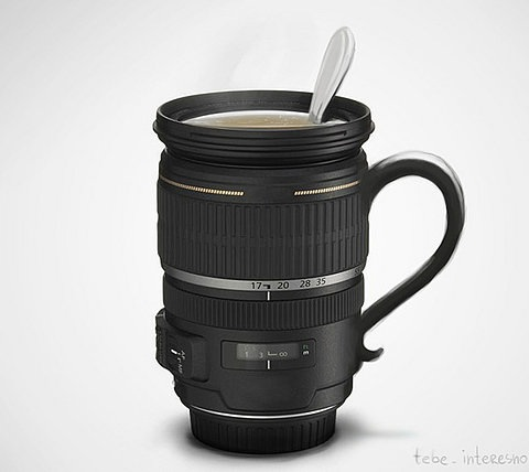 Lens coffe cup
