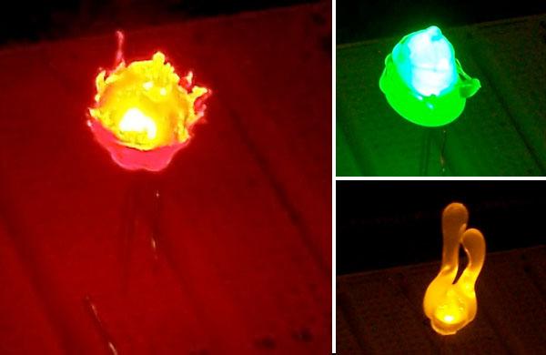 Hot glue for expressive LED diffusion
