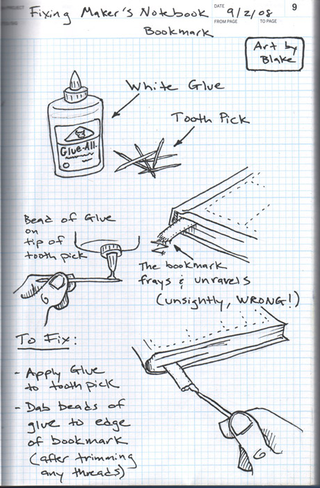 Fixing The Maker's Notebook Bookmark