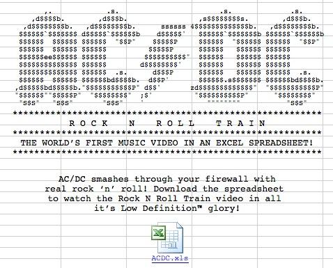 "AC/DC ""Rock N Roll Train"" – music video in an Excel spreadsheet"