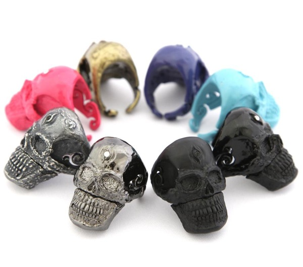 Handmade metal USB skull rings
