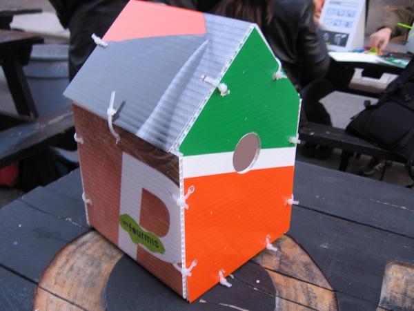 Turning campaign signs in to birdhouses
