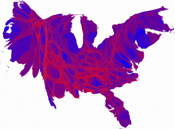 Election results cartogram