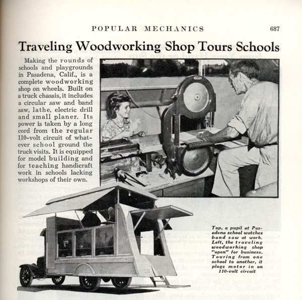 Traveling woodworking shop tours schools