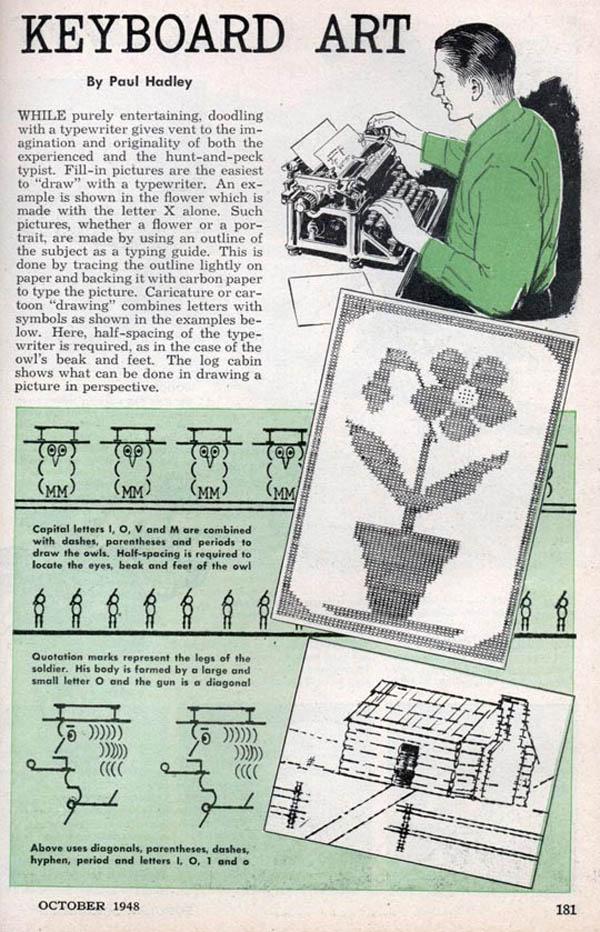 Typewriter art circa 1948