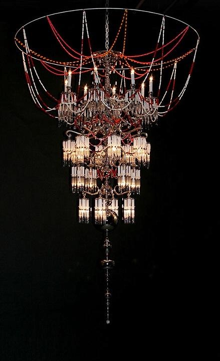 Hypodermic needle chandelier sculptures