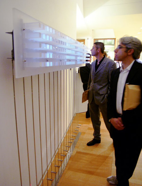 Interactive architecture project detects presence and serves as an SMS message board