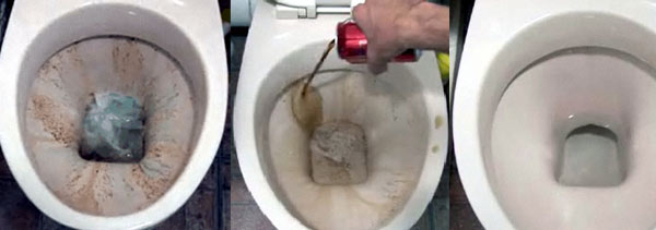 Clean a toilet with Coke