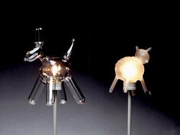 Blown glass light bulb animals