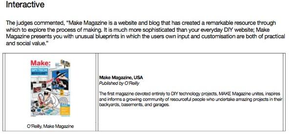 MAKE wins – Brit Insurance Interactive Design of the Year Award