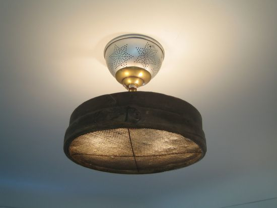 Salvaged-parts living room fixture