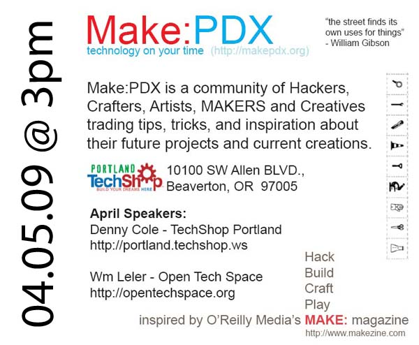 Make: PDX, first meeting in Portland