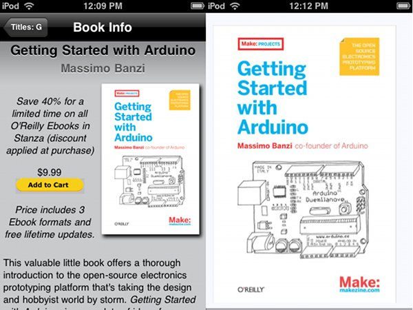 Getting Started with Arduino (and a bunch more O'Reilly books) on the iPhone
