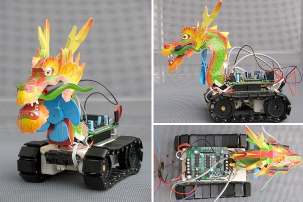 Dragon-bot fights fire with wind