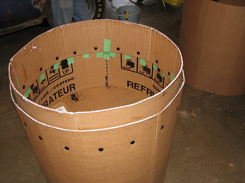 Replica steam engine built from cardboard