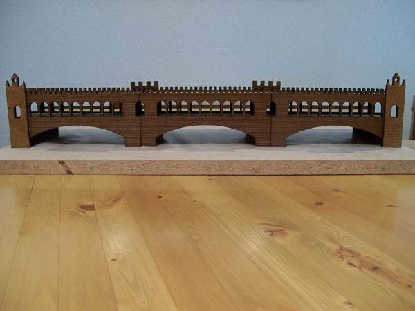 Laser-cut gingerbread bridge