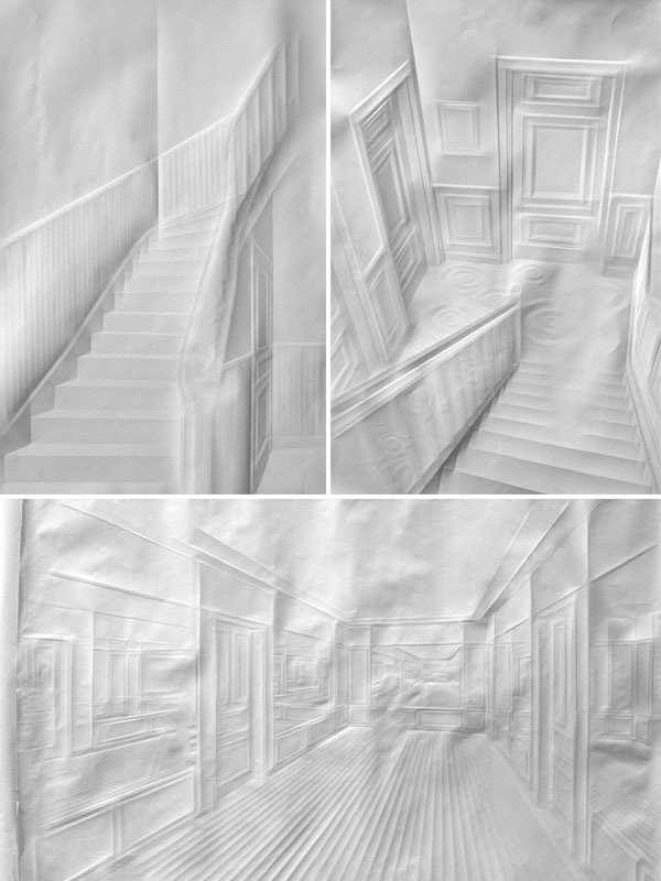 Folded paper images draw with shadow
