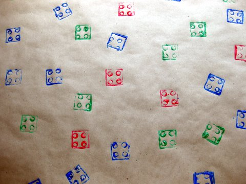 How-To: Make Lego-Stamped Wrapping Paper