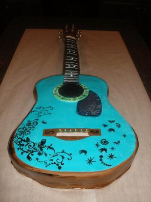 Guitar-shaped birthday cake