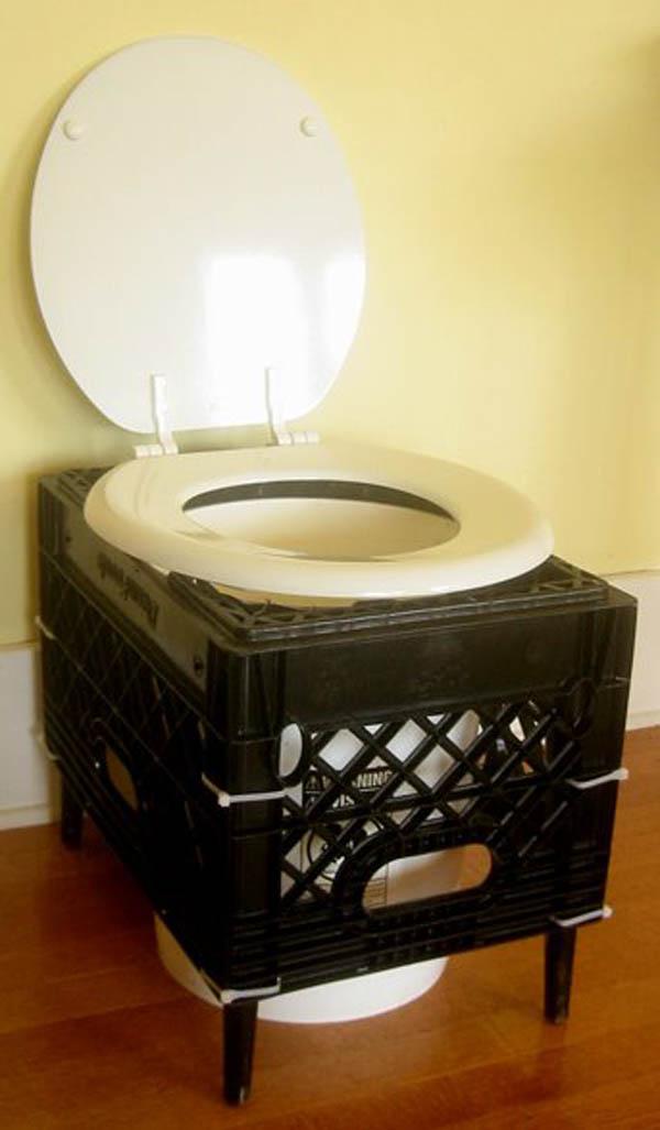 Milk crate composting toilet