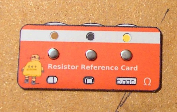 Resistor reference card