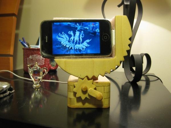 Wooden hand crank iPhone dock automata