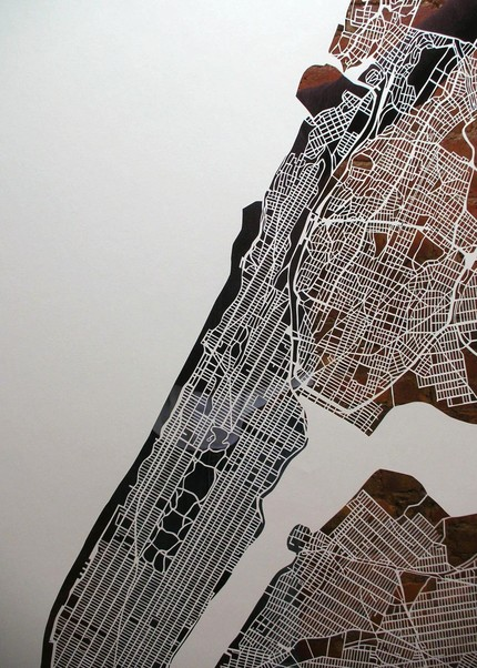 Meticulously cut paper maps of NYC