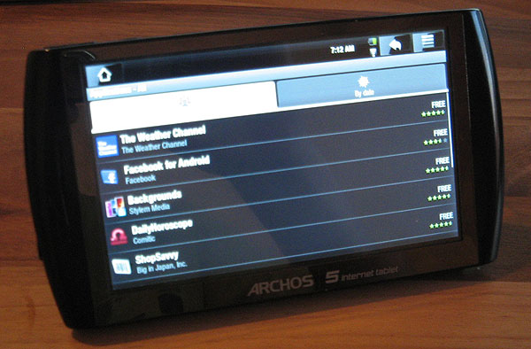 Android Market running on Archos 5 tablet