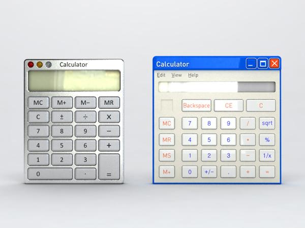 Real imitates virtual – Windows/Mac calculators