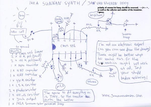 Solar noisemaker from IKEA desk lamp
