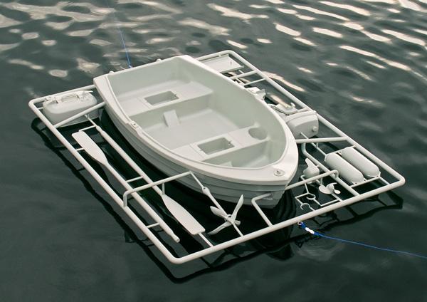 Life-size boat model kit sprue