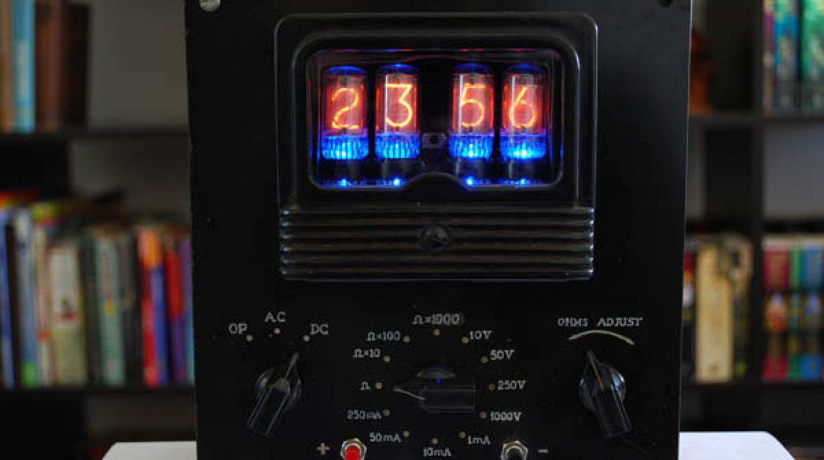 Nixie tube clock in voltmeter case | Make: