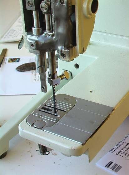 Make a scroll saw from a sewing machine